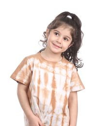 Kids Tie-Dye Tee in Pink + Brown