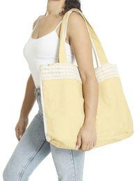 حقيبة يد كبيرة - أصفر وأبيض