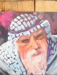 Squared PostCard - Palestinian Man (abstract painting by RMK)