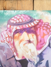 Squared PostCard - Jordanian Man (abstract painting by RMK)