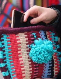 Woven Pouch with Teal Tessel