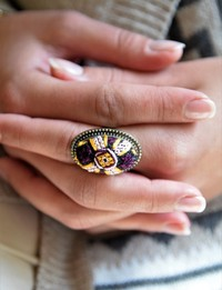 Embroidered Ring: Purple and Yellow - Diamond Shaped