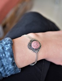 Embroidered Circular Bracelet: Pink