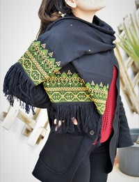 Embroidered Scarf: Black with Yellow and Green Accents