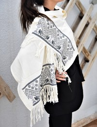 Embroidered Scarf: White with Grey Accents
