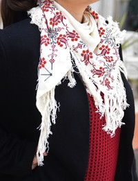 Embroidered Scarf: Triangle Shape