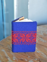 Embroidered Notebook: Red and Dark Blue Accents