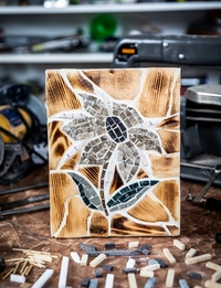 Mosaic Flower with Wooden Background