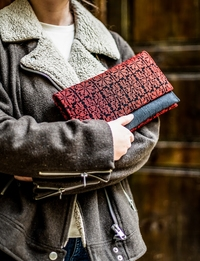 Embroidered Clutch in Black and Red