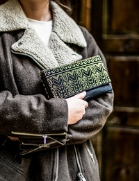Embroidered Clutch in Black and Gold