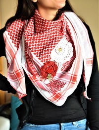 Traditional Red Keffiyeh with Crochet Flowers
