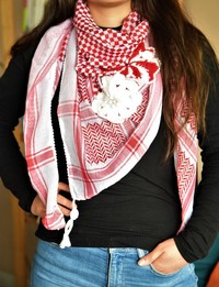 Traditional Red Keffiyeh with Beaded Crochet Flowers