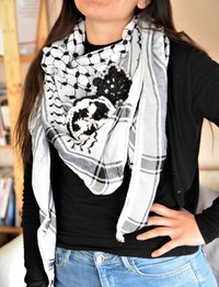 Traditional Black and White Keffiyeh with Beaded Crochet Flower
