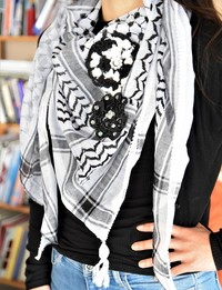 Traditional Black and White Keffiyeh with Crochet Flower