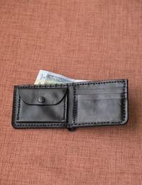 محفظة نقود من الجلد الطبيعي (أسود)