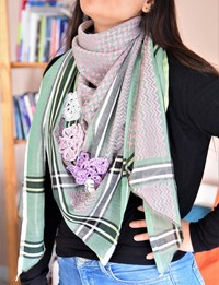 Keffiyeh - Pink and Green Tons with Crochet Flowers