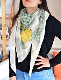 Keffiyeh with Yellow Crochet Flowers