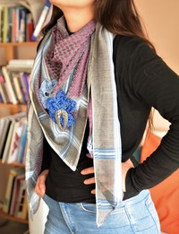 Keffiyeh with Blue Crochet Flower