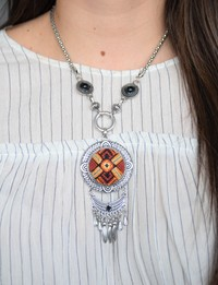 Large Embroidered Necklace - Orange Accents