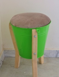 Up-cycled metal chair - Green