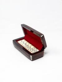 صندوق دومينوز خشبي - بني غامق