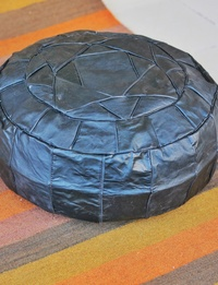 Large Leather Pouffe - Black