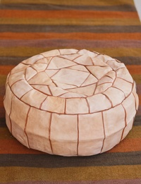 Large Leather Pouffe - Beige