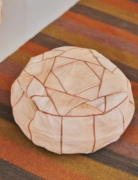 Small Leather Pouffe - Beige