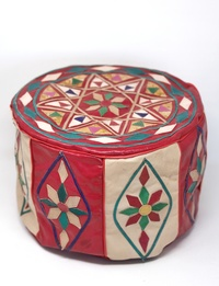 Small Leather Colored Pouffe - Red and Beige