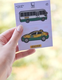 Double Magnet Set - Yellow Taxicab and The Coaster Bus