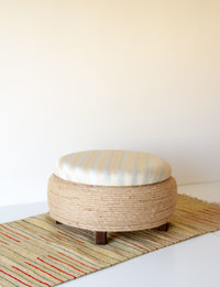 Stool With Storage - Baby Blue And Beige Pattern