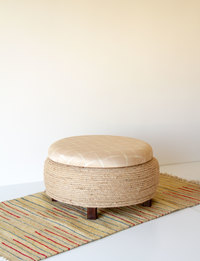 Stool With Storage - Beige With Geometric Pattern