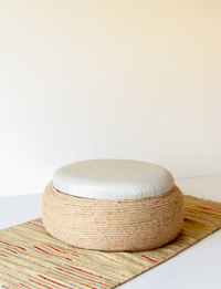 Stool With Storage - Ivory And Beige Pattern