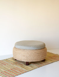Stool With Storage - Gray With Geometric Pattern