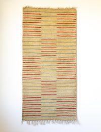 Beige Carpet with Red and Blue Stripes