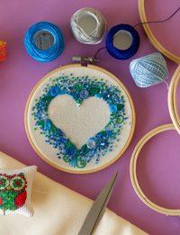 Heart Shape - Blue Embroidery
