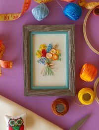 Wooden Frame with Bouquet Embroidery
