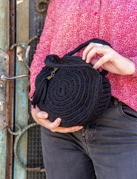 Crochet Round Bag in Black