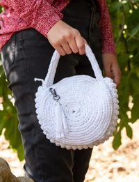 Crochet Round Bag in White
