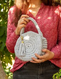 Crochet Round Bag in Gray