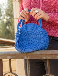 Crochet Round Bag in Blue