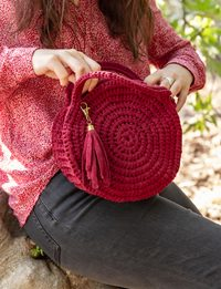 Crochet Round Bag in Red