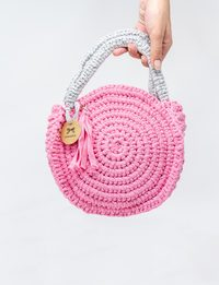 Crochet Round Bag in Light Pink