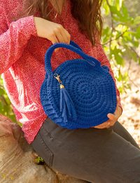 Crochet Round Bag in Dark Blue
