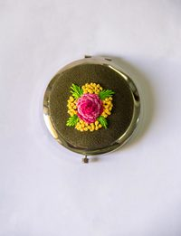 Embroidered Mirror - Olive Green