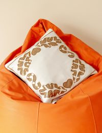 White Satin Cushion in Gold
