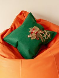 Green Cushion with Dear Decoration