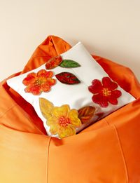 White Satin Cushion with Flowers