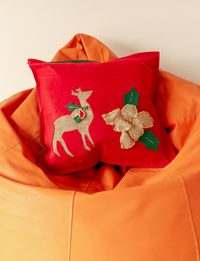 Red Cushion with Dear Decoration