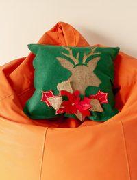 Green Cushion with Dear Head Decoration